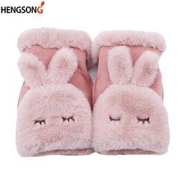 Mitten Patterns NZ - Fashion Women Warm Cute Chic Novelty Rabbit Pattern Winter Cashmere Full Finger Gloves Mittens Girl Gloves women accessories