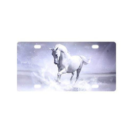 "decorative plate holders UK - Sturdy and Beautiful License Plate Holders White Running Horse Galaxy for Cars Decorative Front Plate 6"" X 12"""