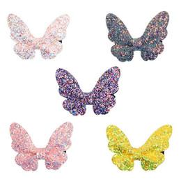 Felt Hair Children Australia - Butterfly Bling Bling Hair Clips Kids Hairpins Cute Felt Glitter Bow Hair Barrettes Children Kids Accessories