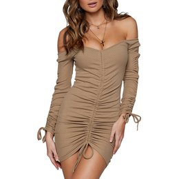 Women Off the Shoulder Dress Long Sleeves Drawstring Front Bodycon Autumn  Dress 2018 Sexy Ladies Casual Club Party Dresses 02baae0ff18a