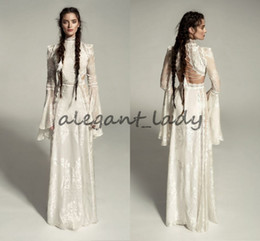 Sexy bell Sleeve wedding dreSSeS online shopping - Meital Zano Great Victoria Medieval Wedding Gown with Bell Sleeves Vintage Crochet Lace High Neck Gothic Queen Wedding Dresses