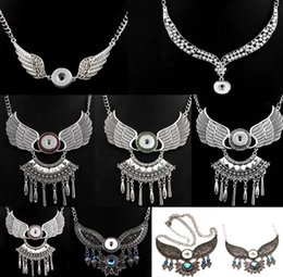 angel gifts 2019 - 2018 NEWEST Noosa Angel Wings With 18MM round Snap Button Necklace DIY Jewelry wholesale Free Shipping cheap angel gifts