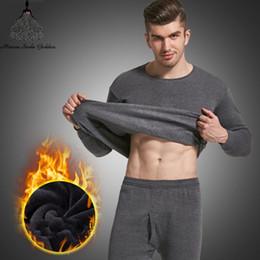Wholesale black thermal underwear for men resale online - Thermal Underwear For Men Plus Size Thermal Underwear Set Winter Long Johns Men Warm Set Thermo Kleding