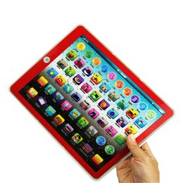 Kids Laptop Learning NZ - Big screen Learning Toy game Tablet pad English Computer Laptop Y Pad Kids Game Music Education Christmas Electronic Notebook