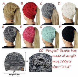 2018 venda quente nova fêmea CC Gorros de lã de inverno chapéu menina chapéu  de rabo de cavalo mulher inverno tricô quente chapéu de crochê esqueleto de  ... d147e11d306