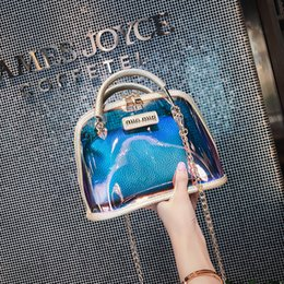 Discount black purse gold chain - Summer PVC Plastic Chains Transparent Bag Candy Jelly Clear Beach Bags Composite Bag 2pcs set Handbag Women Clutch Purse