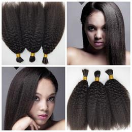 straight human hair for braids 2019 - Unprocessed Human Braiding Hair Bulk No Weft Brazilian Kinky Straight Human Hair Bulk For Braiding cheap straight human