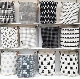 $enCountryForm.capitalKeyWord Canada - INS Storage Bucket With Leather Handles Canvas Printing Kids Toys Storages Barrel Home Washing Clothes Basket 40*50cm c562