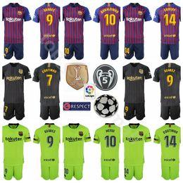 1987cde7c38 18 19 Season FC Barcelona 7 Philippe Coutinho Jersey Set Soccer 9 Luis  Suarez 10 Lionel Messi La Liga Champions Football Shirt Kits