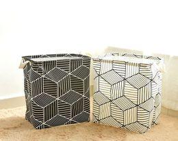 Folded Laundry Basket Canada - Rhombus Print Laundry Basket 35*25*40CM Sundries Storage Container Folding Storage Basket Toys Home Clothes Storage Bag Clothes Organizer