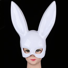 Discount cute halloween costume women - Women Girl Party Rabbit Ears Mask Black White Cosplay Costume Cute Funny Halloween Easter Mask Decoration