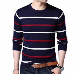 Branded Men Sweater NZ - Pullover Men Brand Clothing 2018 Autumn Winter Wool Slim fit Sweater Men Casual Striped Pull Jumper
