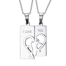 $enCountryForm.capitalKeyWord UK - 316L Stainless Steel Crystal Pendants Necklace Set Engrave I Love You Love Half Heart Shaped Couple Necklace for Lovers Couples
