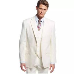 Ivory Linen Suit UK - 2019 Linen Men Suits Wedding Custom Made Tuxedos Groom Wear Bridegroom Groomsmen Blazer Jacket Best Men Prom Wear 3 Pieces