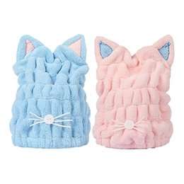 $enCountryForm.capitalKeyWord UK - Soft Microfiber Cute Cat Ear Hair Drying Cap Super Absorbent Quick Drying Hair Towel Wrap With Coral Fleece For Women Girls Bath Accessories