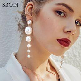 $enCountryForm.capitalKeyWord Australia - Trendy Elegant Created Big Simulated Pearl Long Earrings Pearls String Statement Dangle Earrings For Wedding Party 20Pairs Christmas Gift