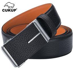 UniqUe belts for men online shopping - CUKUP New Unique Cow Genuine Leather Men s Automatic Belt Buckle Metal Luxury Belts for Jeans Formal Accessories Men NCK655