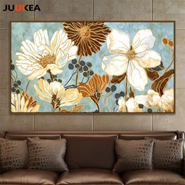 $enCountryForm.capitalKeyWord Australia - Elegant GRACE Flowers Bloom Golden Plant Oil Painting Art, Canvas Print Painting Poster King Size Wall Pictures Home Decor Y18102209