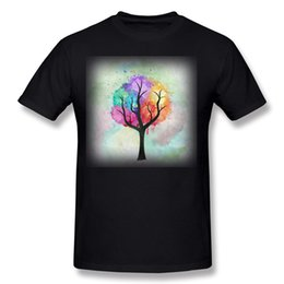 Painting Pastels Canada - Cheap Men's 100 Cotton Awesome abstract pastel colors oil paint tree of Life T Shirt Men's Round Collar Gray Short Sleeve T Shirt Plus Size