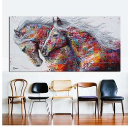 two horse oil painting Australia - HDARTISAN Wall Art Picture Canvas Oil Painting Animal Print For Living Room Home Decor The Two Running Horse No Frame