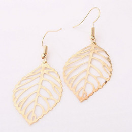 gold leaves NZ - Large Leaves Earrings for Women Gold Silver Colors Stainless Steel Leaf Dangle Earrings Fashion Jewelry Holiday Gift