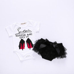 Discount cute girls high heels shoes - 2018 baby girl summer clothes sets infant toddlers high-heeled shoes print romper with tulle lace pp shorts 2pcs outfits