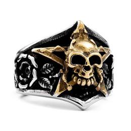 Punk Rings Australia - Silver Viking Ring Skull With Pentagram Gothic Punk Rock Rose Five-pointed Star Skeleton Rings Rose Flower Carving Ring