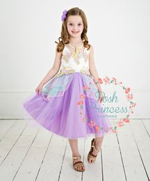 Unicorn girl dress Embroidery flower botique dress pink Aqua Purple Ready  to ship