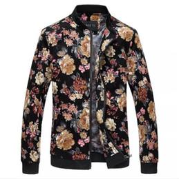 132637c659c BomBer jacket flower men online shopping - Mens Designer Flower Printed  Bomber Jacket Spring Autumn Slim