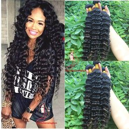 Natural Human Hair Weave Australia - Human Hair Bundles Deep Wave Brazilian Hair Weave Deep curly wave Bundles Human Hair Extension Natural Color 3pcs lot