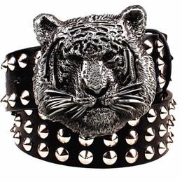 Vente en gros Ceinture en métal à la mode boucle ceinture en métal ceintures de dessin animé tête de tigre animal lourd style ceinture ceinture punk rock gros rivet