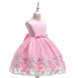 baby girls formal wear UK - New Arrival Pink Tulle Pretty Flower Girl Dresses bling sequins Baby Girl Infant lace Dress Kids Formal Wear free shipping