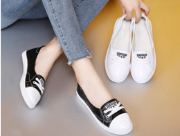 flat shoes korean styles 2018 - Shallow-mouthed white shoes for women 2018 summer new style flat-bottomed casual Korean version of driving pregnant wome