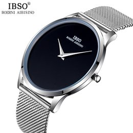 Discount men simple style watch - IBSO Mens Watches Top Brand Luxury Steel Mesh Strap Quartz Wristatches 2017 Fashion Simple Style Watch Men Relogio Mascu