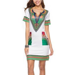 $enCountryForm.capitalKeyWord Canada - New Arrival Pencil Dress Summer Short Sleeve V Neck Printed Dress Pocket Beach Mini Dress For Women Ladies Gifts