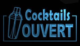 Cocktail Light Sign Australia - LS655-b-OUVERT-Cocktails-Bar-Beer-Pub-Neon-Light-Sign Decor Free Shipping Dropshipping Wholesale 8 colors to choose