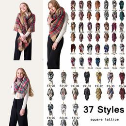 oversize plaid scarf 2019 - 140*140cm Unisex Winter Plaid Scarf Square Scarves Oversize Blanket Wrap Cashmere Scarf Shawl Fashion Plaid Warm Blanket