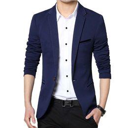 button design suit 2019 - Wholesale-Men Casual Suit Business Style Fashion Design Men's Long Sleeve Slim fit Suits Masculine Blazer one Button Sui
