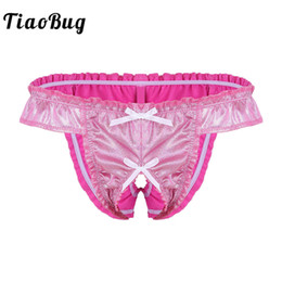 59363605c9 TiaoBug Men Soft Shiny Ruffle Bowknot Sissy Panties Low Rise Stretchy Open  Crotch Underwear Sexy Gay Male Crotchless Thong Brief