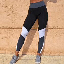 b181fb2143f Woman Leggings Sport Fitness Black White Colorblock Patchwork Stretch  Bodycon High Waist Gym Thick Sexy Tights Leggings 35