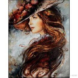 Cabelo comprido mulher 5D DIY diamante pintura completa bordado embutido chapéu de flores arte da moda artesanato presente mural decoração de casamento em casa em Promoção