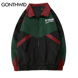 Full Zip Jacket Polyester Australia - GONTHWID Vintage Color Block Patchwork Embroidery Full Zip Up Windbreaker Jackets 2018 Spring Autumn Hip Hop Casual Track Coats