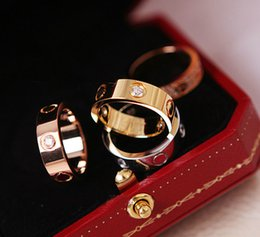 Gold couple love bands enGaGement rinGs online shopping - Fashion mm Famous brand crystal Jewelry carter love ring luxury titanium steel Rose Gold bijoux couple lovers ring