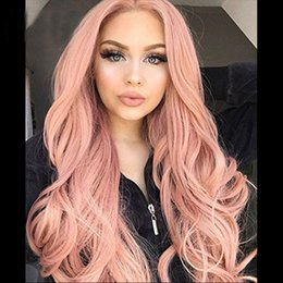 long hair wave style Canada - ZhiFan 28 inch Long Pink Loose Wave Big Wave Synthetic Lace Front Wigs For Black Women American Style Natural Hair