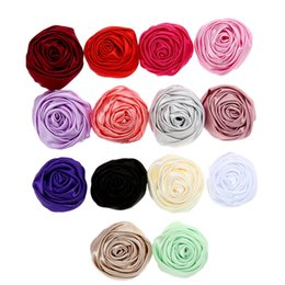 Red Roses For Hair NZ - 2'' 14 Colors Mini Satin Rolled Rossettes Rose Flower DIY Roses for Hair Accessories Supplies for Wedding Flowers Garters Roses