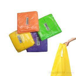 Eco Friendly Reusable portable Nylon foldable shopping bag mixed candy  color washable large Storage debris handle Random Color 50b41655afa56