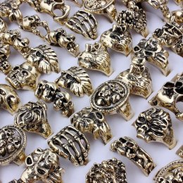 $enCountryForm.capitalKeyWord Australia - 20pcs Mix Choose Alloy Cabochon Vintage Women Rings Rose Skeleton Skull Picture Fashion Jewelry Ancient Bronze Rings for Women Men Gifts