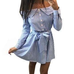 $enCountryForm.capitalKeyWord NZ - Women Striped Shirt Dress 2019 Sexy Off Shoulder Strapless Mini Dress Autumn Long Sleeve Sashes Dresses Casual Office Vestidos