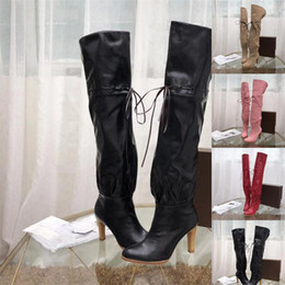 """$enCountryForm.capitalKeyWord NZ - 3.5"""" Heel Original Canvas Over The Knee Boot Luxury Brand Boots Booties Red Soft Leather Cinched Self-Tie Detail Casual High Shoes 0G016"""