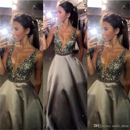 $enCountryForm.capitalKeyWord Australia - Grey Deep V-Neck Long Prom Dresses A Line Satin Beaded Floor Length Prom Gowns Formal Evening Dresses Sexy
